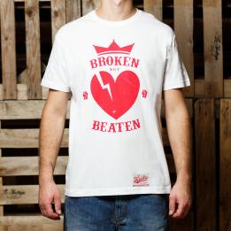 "ABA - Baltos spalvos ""Broken Not Beaten"" marškinėliai"