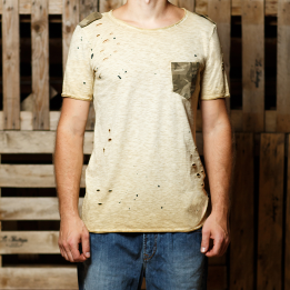 An kei Military OldGold Simple T-shirt